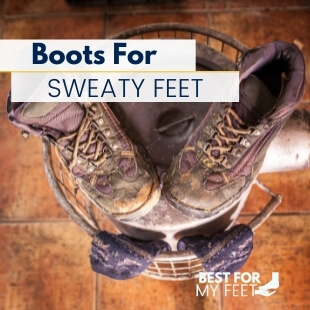 a pair of soaked work boots and a pair of sweaty socks