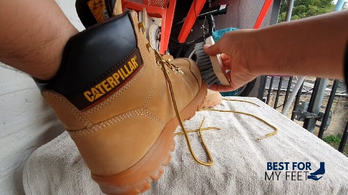 washing a pair of work boots without getting them soaked in water