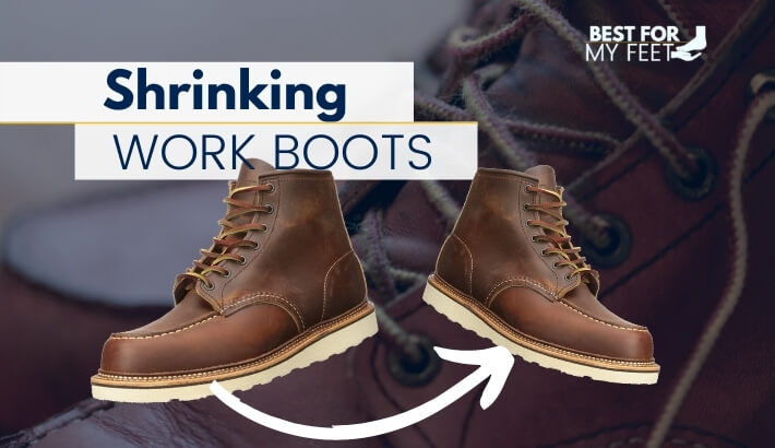 two pair of work boots one next to the other showing how they have shrinked
