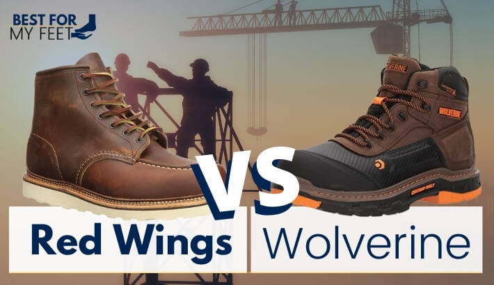 two pair of work boots, one from red wings and another from wolverine doing a comparison between the two brands