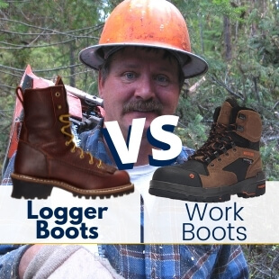 a logging worker and a pair of logger boots and another pair of normal work boots