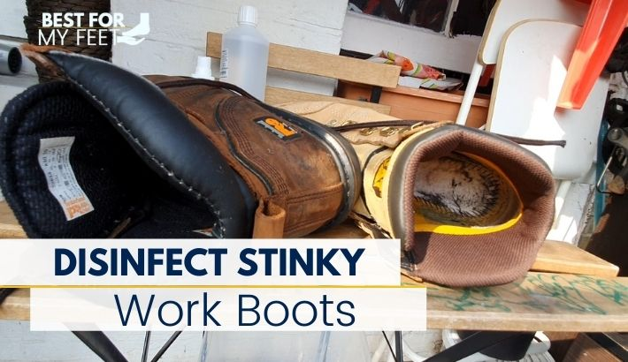 a pair of stinky safety work boots that are going to be disinfected by myself using rubbing alcohol trying to kill all the bacteria and fungus living inside.