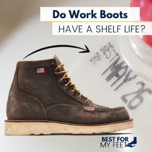 a pair of safety toe work boots next to an empty bottle with an expiring date on it.