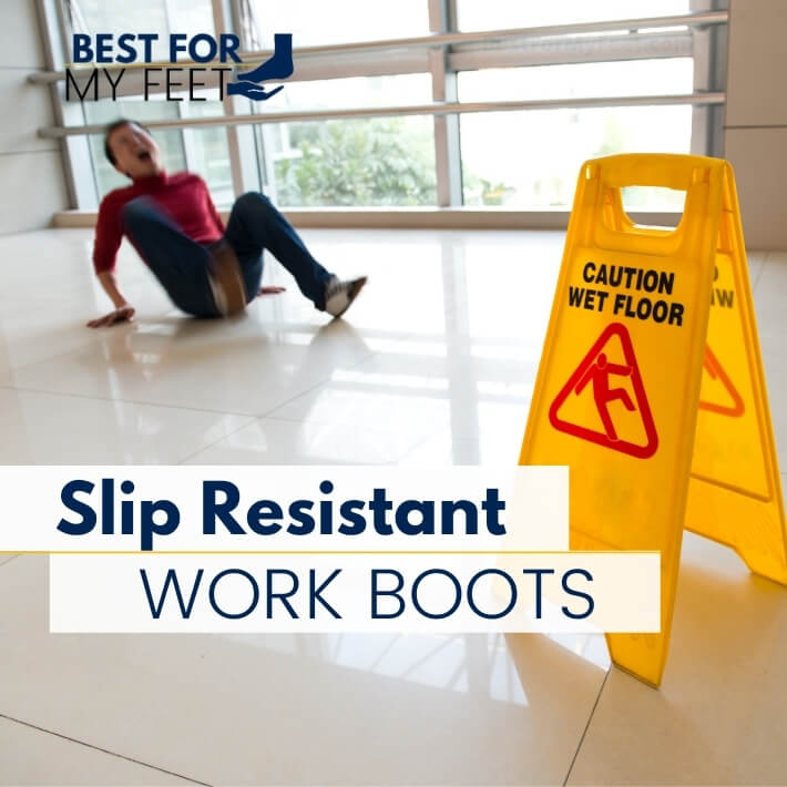 """a sign saying: """"caution. wet floor."""" and in the background a person on floor who have some pain after trippings due to the floor being slippery."""