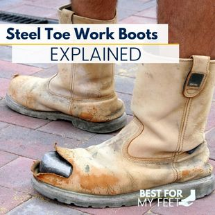 a construction worker wearing a pair of steel toe work boots explaining what's the point of the steel toe work boots and how they work.