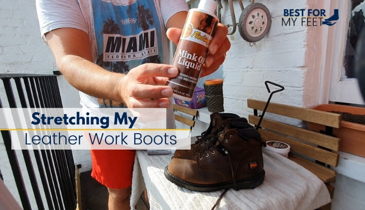myself showing the mink oil product I used for one of the methods I used to stretch out my work boots