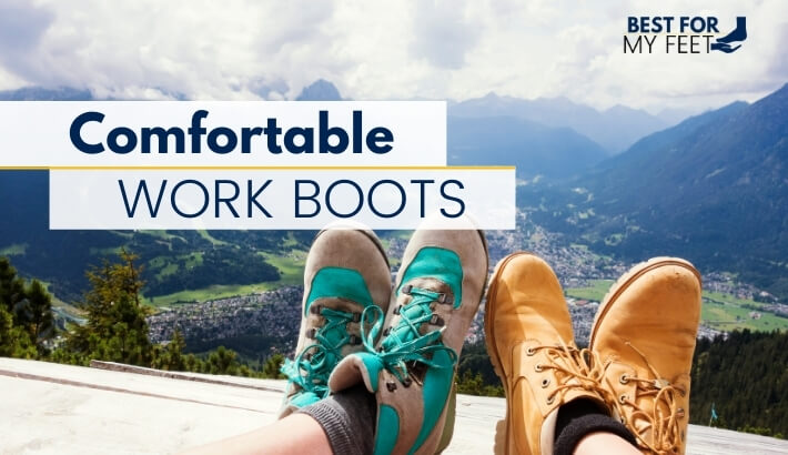 two workers wearing a pair of very light and very comfortable work boots having a break.