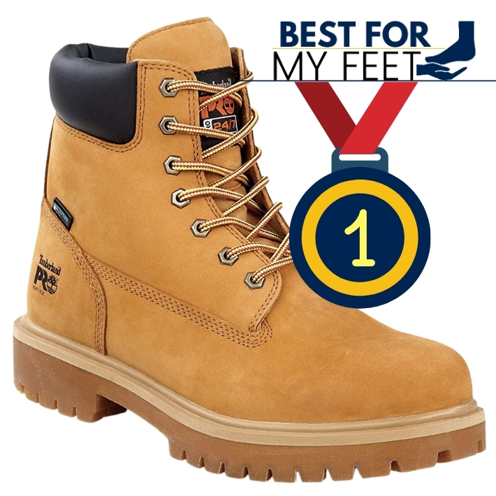 a yellow work boot from timberland pro with an anti slippery sole