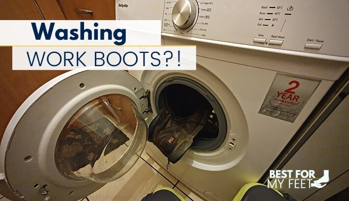 myself putting my work boots in the washing machine