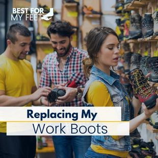 a lady and two men looking at new work boots so they can replace their old work boots.