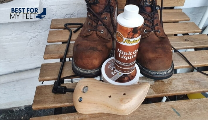 a home made kit to stretch steel toe work boots made of mink oil and a boot stretcher