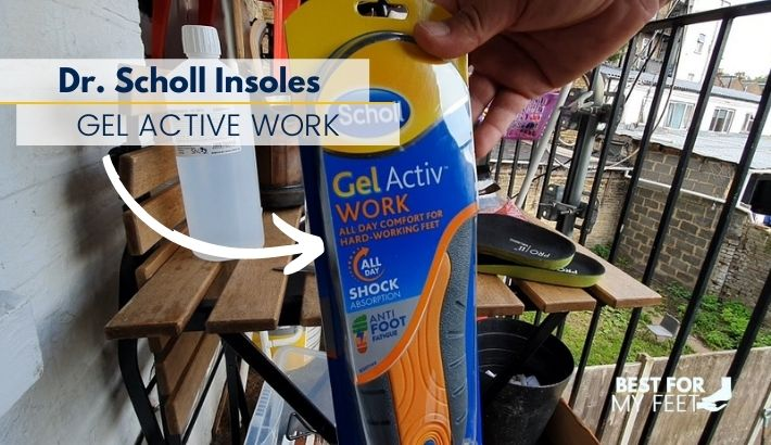 a package with a brand new insoles from dr scholl