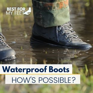 a person going through a deep puddle of water wearing a pair of waterproof work boots.