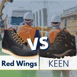 two pair of work boots. one boot from the brand called Red Wing and another boot from another footwear brand called KEEN. They are being compared in this article.