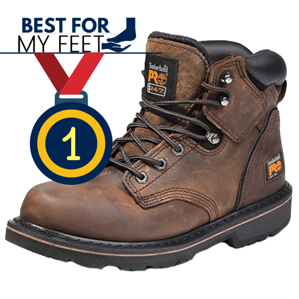 a safety work boot from the brand Timberland and a medal with the number one inside symbolizing that this boot has won the title of the best for mechanics.