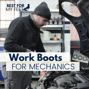 """a mechanic doing some repairs on a vehicle and two rectangles with some text inside. The text says: """"work boots for mechanics""""."""